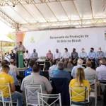 A solenidade contou com o ministro de Minas e Energia, Bento Albuquerque, o pelo presidente da INB, Carlos Freire Moreira, autoridades regionais e profissionais da imprensa, além dos funcionários da unidade industrial baiana. Foto: divulgação / INB.